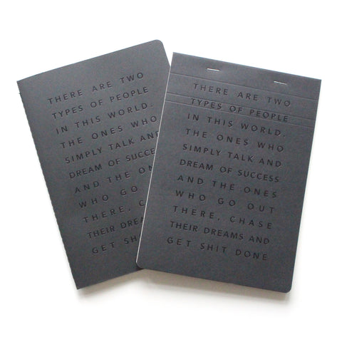 Black Notebook and Desk Pad with Manifesto message