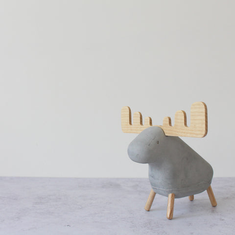 Grey concrete moose ornament