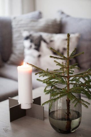 Mini Christmas Tree in vase with candle