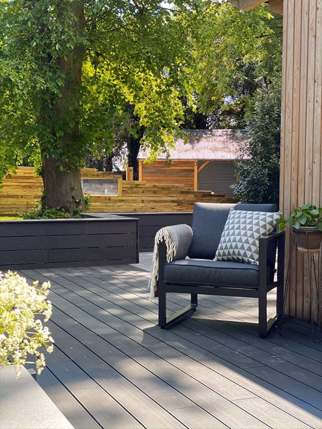 Outside black decking area with grey furniture