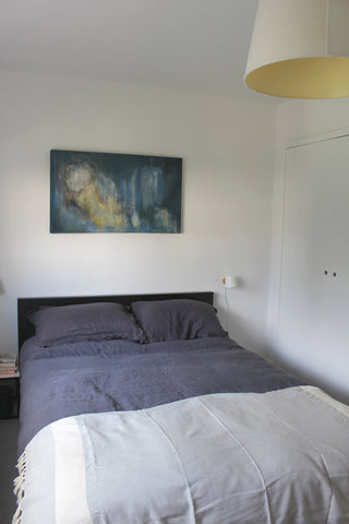 Bedroom with white walls and grey bed linen
