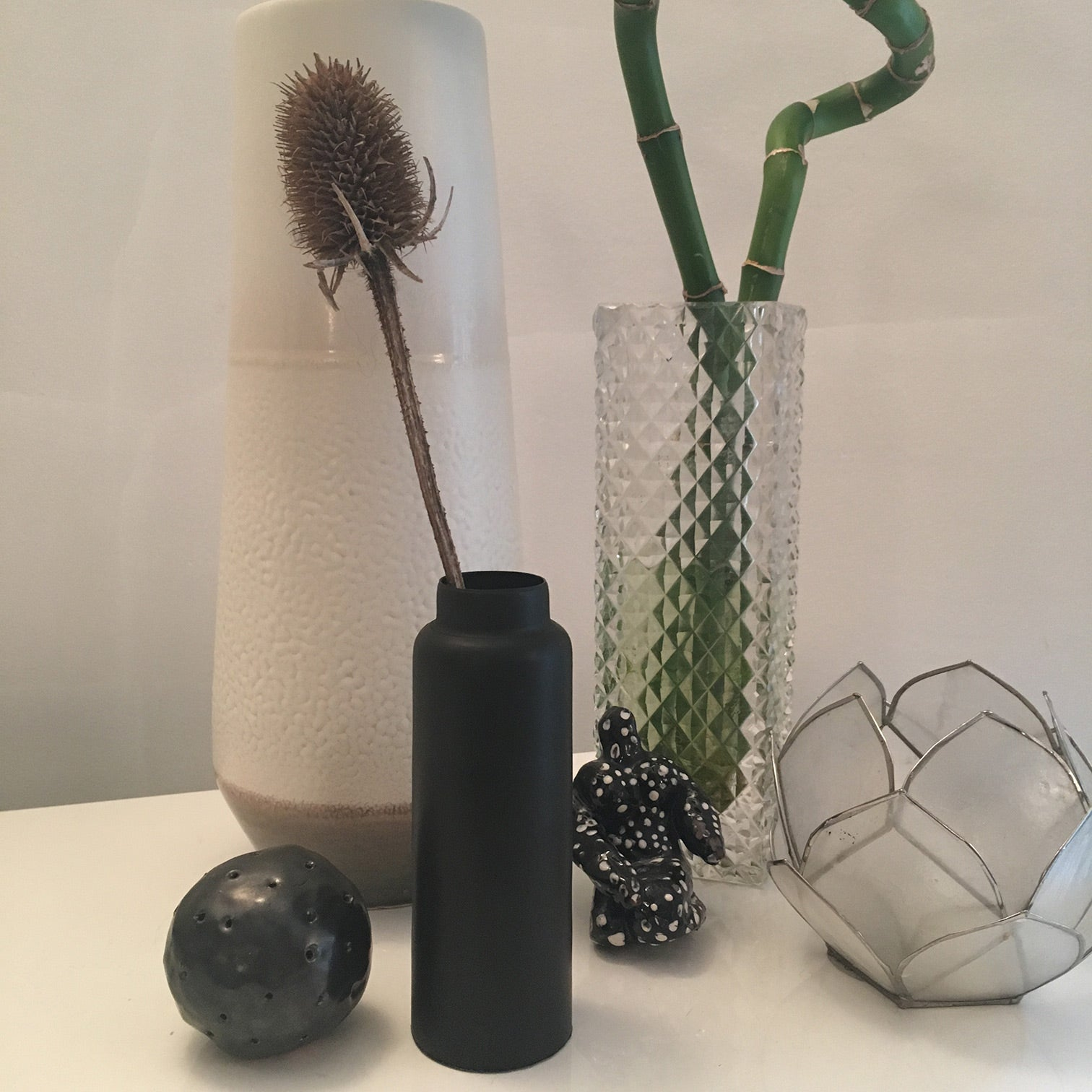 Collection of vases, glass and ceramic