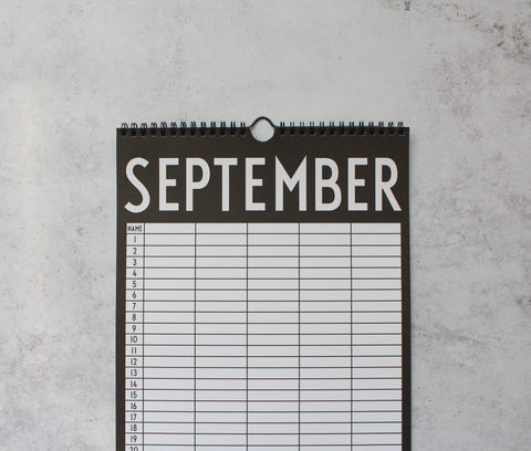 Monochrome calendar turned to September