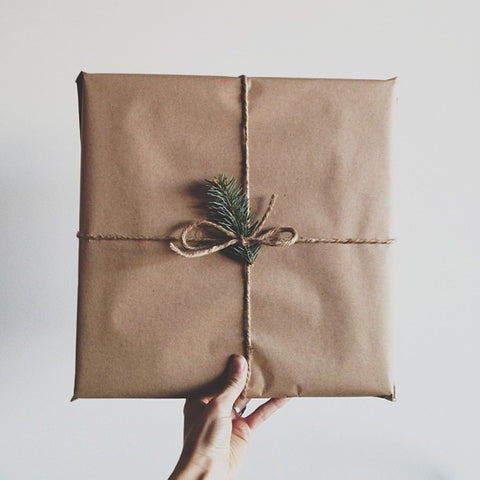 Parcel wrapped in kraft paper