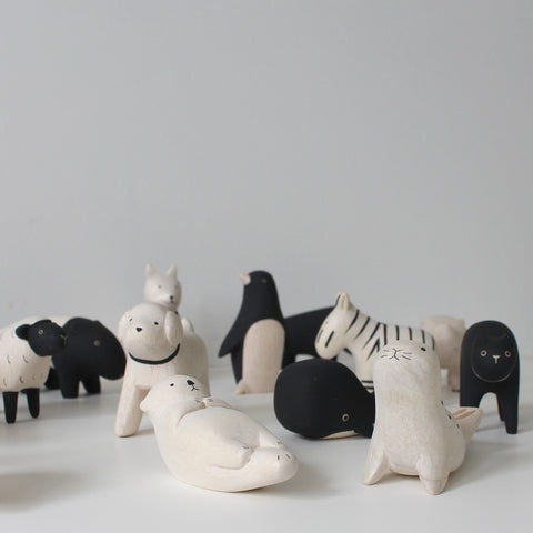 Collection of wooden animals