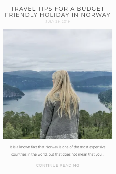 Screenshot from That Scandinavian Feeling - blog post on budget friendly travel in Norway