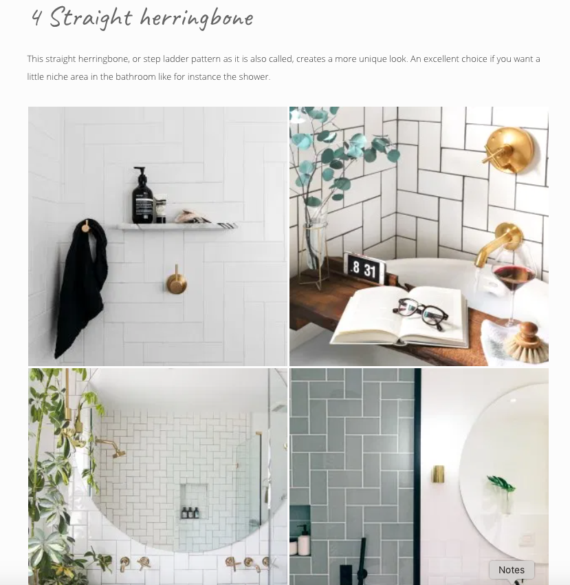 Screenshot from That Scandinavian Feeling blog featuring herringbone tiles