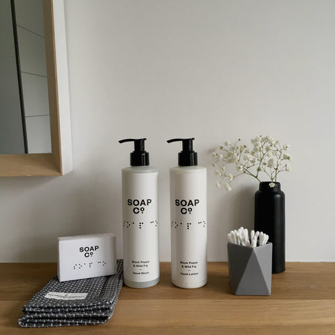 Collection of monochrome bathroom accessories