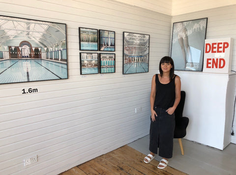 Susan Burnell at her poolside exhibition