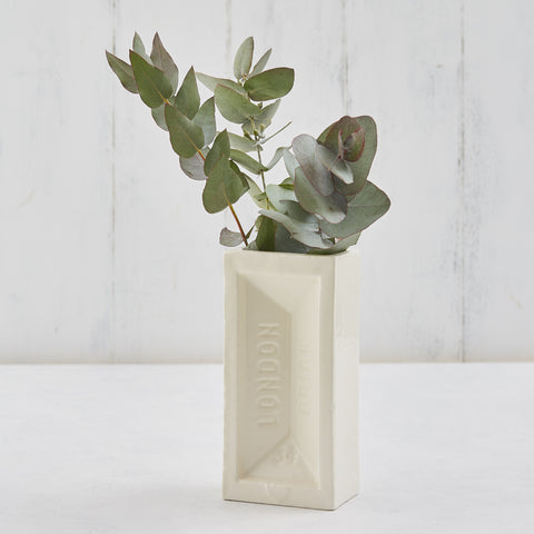 White brick vase with Eucalyptus