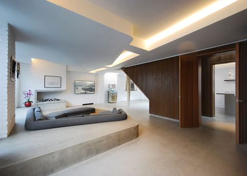 Open plan house interior with sunken seating area