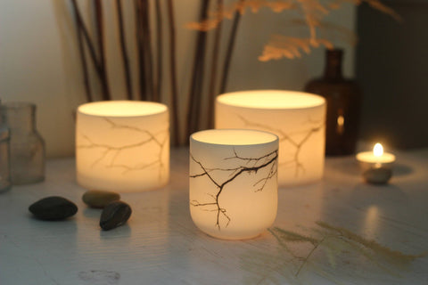 Porcelain Candle Holders with twig design