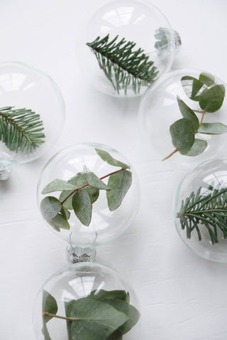 Glass baubles with foliage inside