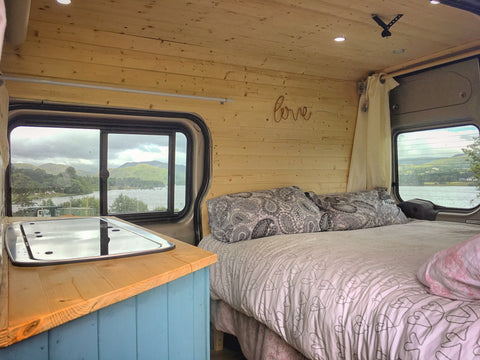 Lake views from inside a campervan