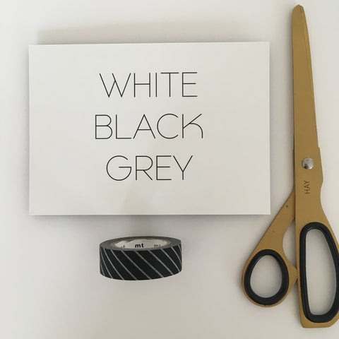 White Black Grey Postcard with scissors and washi tape