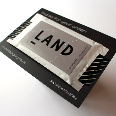 White Black Grey Postcard Reverse with Land Chocolate