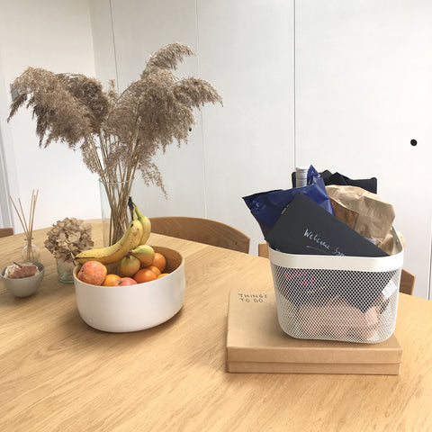 Dining table with welcome basket