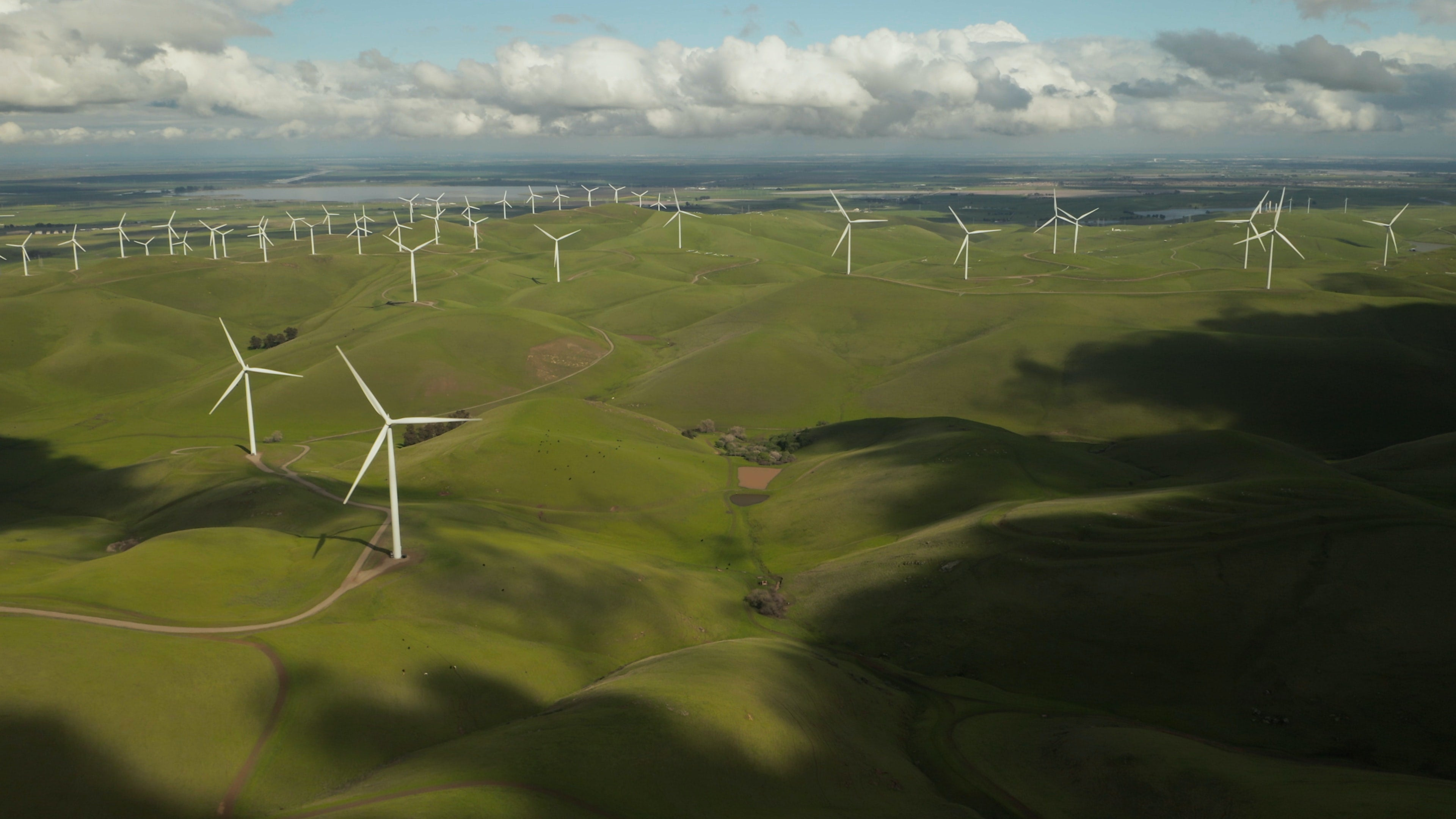 Arial shot of wind turbines on an undulating green landscape