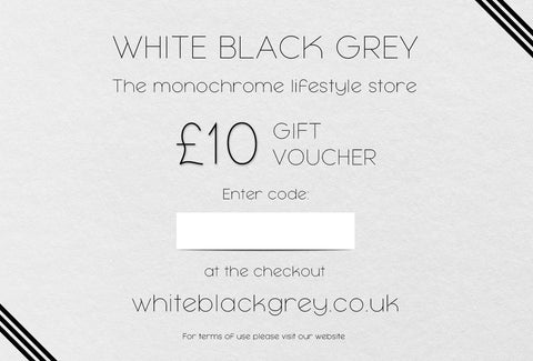 White Black Grey Gift Voucher - £10