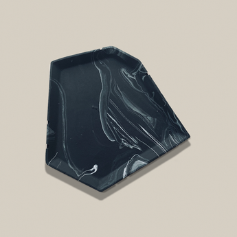 Asymmetric Trinket Tray | Jesmonite | Marbled Black