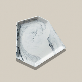 Asymmetric Trinket Tray | Jesmonite | Marbled White