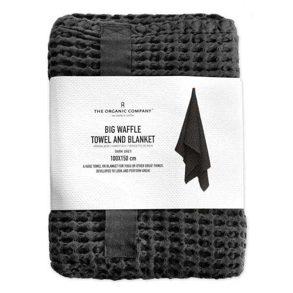Organic Cotton Blanket / Throw | Waffle Weave | Dark Grey