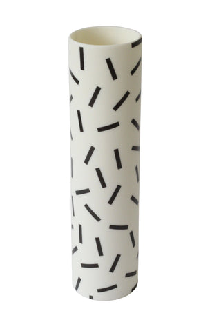 Tall Ceramic 'Speckle' Vase | Black and White