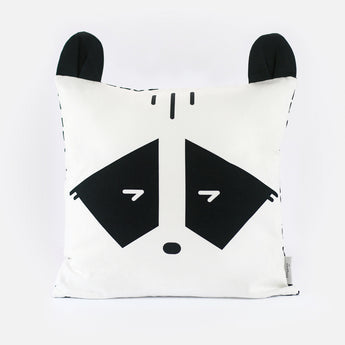 Cheeky Racoon Cushion Cover by Tinyppl | Black and White