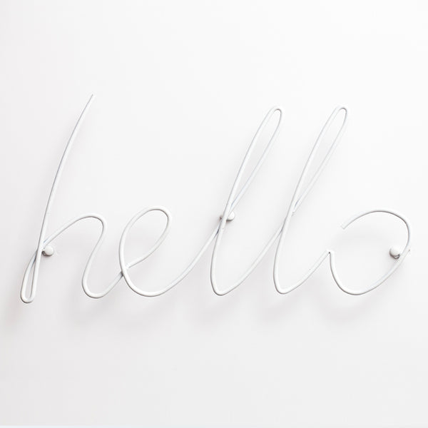 Hello Wall Sign | White