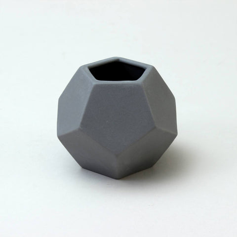 Geometric Ceramic Pot | 'Dodecahedron' | Grey