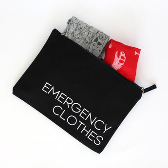 Organic Cotton Zip Pouch | Emergency Clothes | Black
