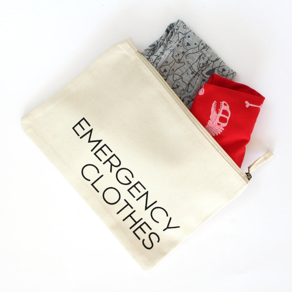 Organic Cotton Zip Pouch | Emergency Clothes | Natural White