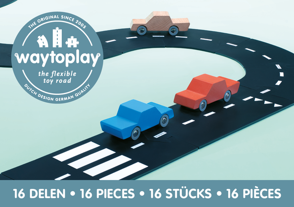 Flexible Road Toy by Waytoplay | Expressway - 16 pieces | Black and White