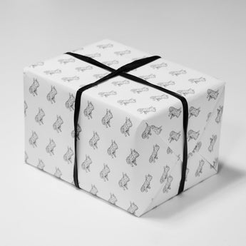 Frank the French Bulldog Wrapping Paper | Black and White