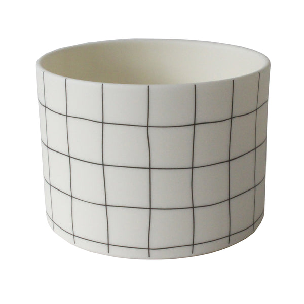 Ceramic 'Grid' Pot | Large | Black and White