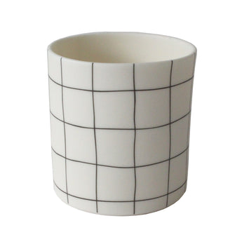 Ceramic 'Grid' Pot | Small | Black and White