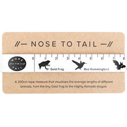 Infographic Animal Tape Measure by Nose to Tail | Black and White