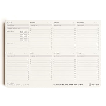 Weekly Focus Planner | A4 Desk Pad | Black and White