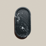 Oval Trinket Tray | Jesmonite | Marbled Black