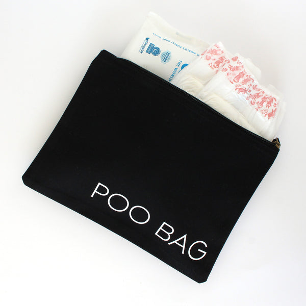 Organic Cotton Zip Pouch | Poo Bag | Black