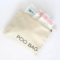 Organic Cotton Zip Pouch | Poo Bag | Natural White