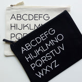 Organic Cotton Zip Pouch | A-Z | Black