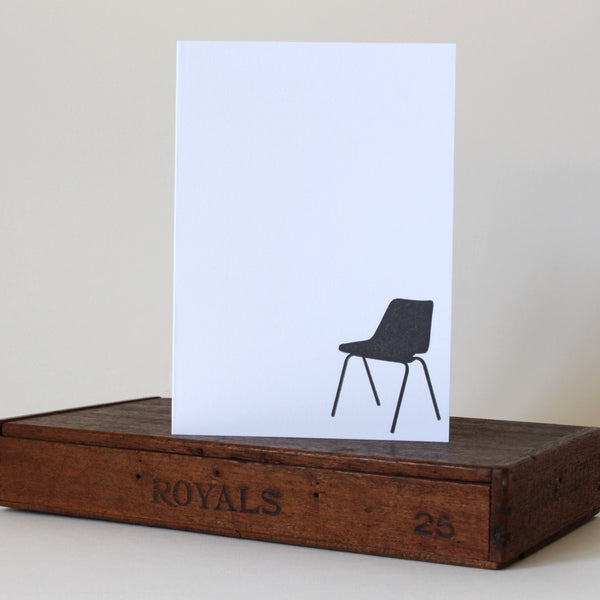 Letterpress Card | Robin Day Chair | Black and White