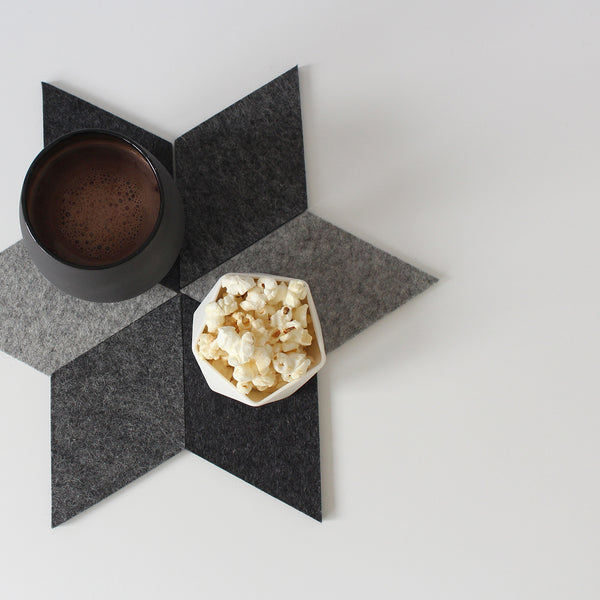 Geometric Felt Trivet / Coaster Set | Grey