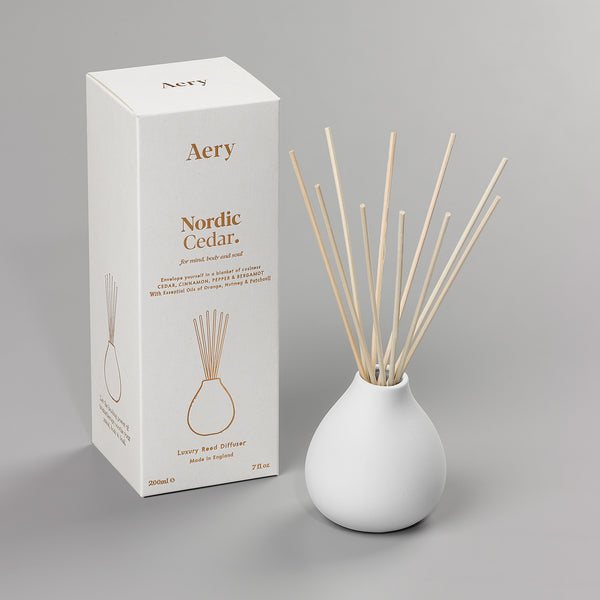 Luxury Reed Diffuser | Nordic Cedar | White