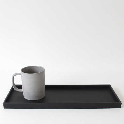Long Rectangular Tray | Rubber | Black