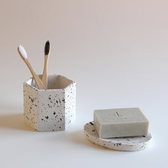 Hexagon Pot | Recycled Shell Terrazzo