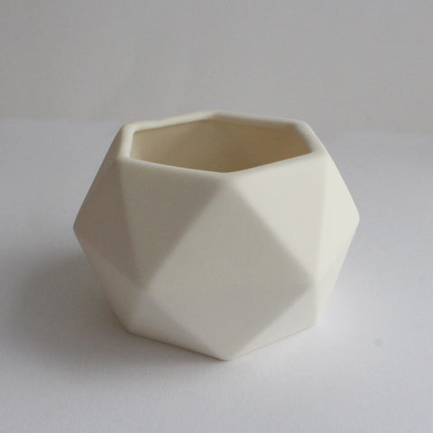 Geometric Ceramic Pot | 'Hexagon' | White