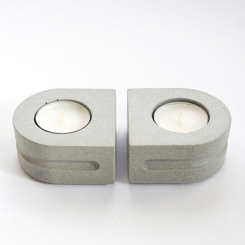 Tealight Candle Holder Set | Jesmonite | Grey