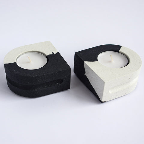 Tealight Candle Holder Set | Jesmonite | Black & White